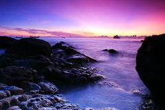 Dawn overture with purple lights Royalty Free Stock Photos