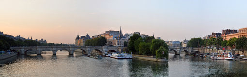 Dawn Panorama of the Ile de la Cite & The Seine River, Paris Fra Royalty Free Stock Image