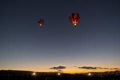 Dawn Patrol at the Great Reno Balloon Race. Hot air balloons participate in the Dawn Patrol at the Great Reno Balloon Race Royalty Free Stock Photos