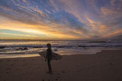 Dawn Colors Surfer Ocean Stock Photos