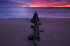 Dawn pilings Royalty Free Stock Image