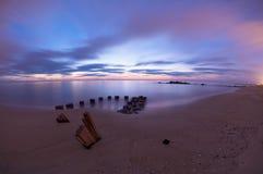Dawn pilings Stock Photo