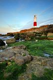 Dawn at Portland Bill. Portland Bill lighthouse at dawn with the sea at low tide exposing the treacherous headland rocks royalty free stock photos