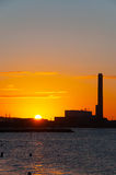 Dawn at power plant Royalty Free Stock Photo