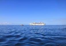 Dawn Princess, ship of Princes Cruises line anchored at sea by Lahaina, Hawaii island. LAHAINA, MAUI, HAWAII - SEPTEMBER 18, 2012 : Dawn Princess, cruise ship of royalty free stock image