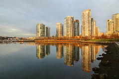 Dawn Reflection, Vancouver Condominiums Royalty Free Stock Image