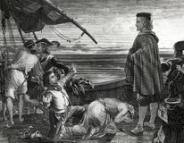 Christopher Columbus On Ship with Crew Illustration. Dawn revealing The New World to Christopher Columbus and ship crew members engraving circa 1862 stock illustration