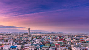 Dawn in Reykjavik, Iceland. Shot from the roof of the tallest tower in the downtown area Royalty Free Stock Photo