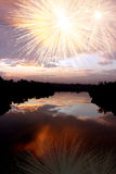Dawn Riever Fireworks Royalty Free Stock Image
