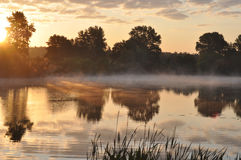 Dawn on the River. Misty Dawn on the River Stock Photo