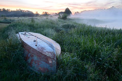 Dawn on the river bank Royalty Free Stock Photo