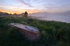 Dawn on the river bank Royalty Free Stock Images