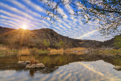 Dawn on the river with beautiful sky Stock Images