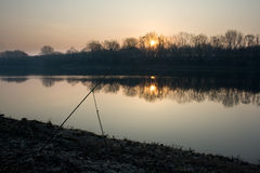 Dawn on the river in early spring Royalty Free Stock Photos