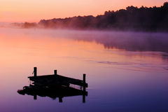 Dawn on the river. In Russia Royalty Free Stock Photos