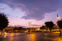Dawn on a road. Near Termini Station in Rome, Italy Stock Photography