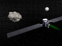 Dawn spacecraft, Vesta and Ceres - 3D render Royalty Free Stock Photos