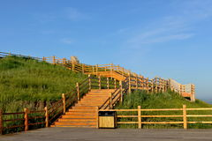 Dawn of the Root River Wetland Observation Deck Royalty Free Stock Image