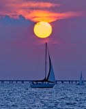 Dawn Sailboat Stock Image