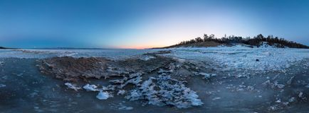 Dawn on a sandy beach on the island of Olkhon. cylindrical 360 degree vr panorama