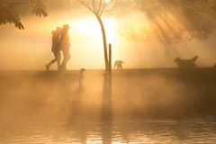Dawn scene as dog walkers stoll through beautifully lit lakeside scene royalty free stock images