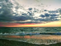 Dawn at sea, it`s a beautiful sight stock image