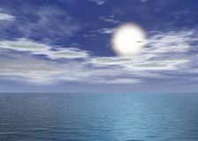 Dawn sea - Sunset above the horizon. With clouds - Blue night sea with light wave stock illustration