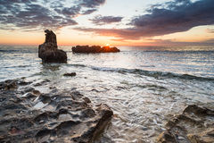 Dawn seascape on Les Rotes, Denia stock image