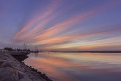 Dawn seascape view of Olhao Marina, waterfront to Ria Formosa. Algarve. Dawn seascape view of Olhao Marina, waterfront to Ria Formosa natural park. Algarve Stock Photography