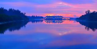 Dawn Serangoon Reservoir Singapore. Beautiful and colorful dawn at Serangoon Reservoir in Singapore Stock Photo