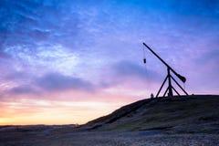 Dawn in Skagen, Denemarken - het oude bascule licht Stock Foto's