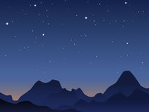 Dawn sky background. The dawn sky background with mountains and stars stock illustration