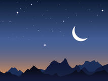 Dawn sky background. The dawn sky background with stars and Moon royalty free illustration