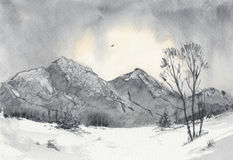 Dawn in the snowy mountains. Watercolor winter landscape showing the first light of dawn in the mountains and a bird soaring high in the sky Royalty Free Stock Images