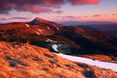 Dawn of spring in the mountains Stock Photography