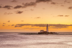 Dawn at St Mary's Lighthouse Stock Image