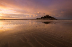 Dawn at St Michael`s Mount, Marazion, Cornwall Stock Photos