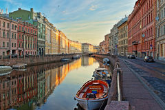 Dawn in St. Petersburg. Earlier morning in St. Petersburg on the Moika River Royalty Free Stock Images
