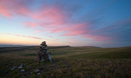 Dawn in the steppes of Khakassia Stock Photo