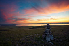 Dawn in the steppes of Khakassia Stock Image