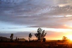 Dawn Sun Flare. Sun Flare At Dawn In Magaliesberg Mountains South Africa Stock Photos
