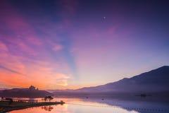 Dawn. At sun moon lake Stock Image