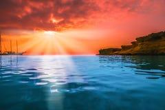 Dawn Sun Tranquil Calm Sea Stock Image