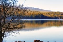 Dawn at Oregons Odell Lake. Dawn sunlight layers an enlightening glow over the forest lined reflecting Odell Lake in Oregon`s Cascade range stock photo