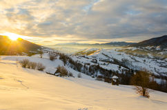 Dawn sunlight Winter morning. A view of the winter mountains. Wi royalty free stock photos