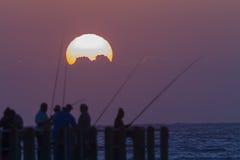 Dawn Sunrise Fishermen Silhouettes Royalty-vrije Stock Afbeelding