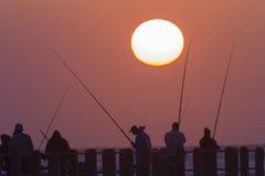Dawn Sunrise Fishermen Silhouettes Royalty-vrije Stock Afbeeldingen