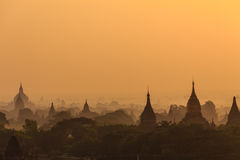 Dawn, Sunrise and  Pagoda ,  Bagan in Myanmar (Burmar) Royalty Free Stock Photography
