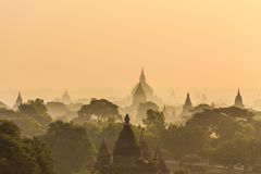 Dawn, Sunrise and  Pagoda ,  Bagan in Myanmar (Burmar) Stock Photo