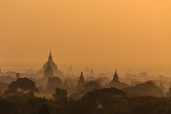 Dawn, Sunrise and  Pagoda ,  Bagan in Myanmar (Burmar) Royalty Free Stock Photos